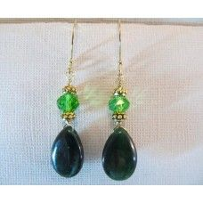 """""""Golden Green"""": Green stone wrapped and dangled from #Swarovski crystals   14kt gold plated earwires.  2 1/4"""" drop   $45  #gold"""