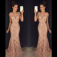 2016 Hot Sales Deep V-neck Prom Dresses,Lace Prom Dresses,Mermaid Evening Dresses,Party Gowns                                                                                                                                                                                 Más