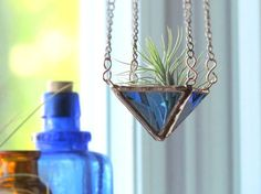 Air Plant Holder Blue Mini 2 Tiered Faceted by SNLCreations