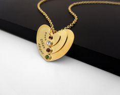 Kids Names Stacked Heart Necklace in 24K Gold Plated and Scrystals, Custom Mom Pendant, Layered 3 Names Necklace, Mothers Day Gift . on Etsy, 265.42₪