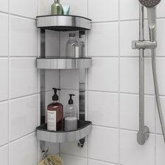 "BROGRUND Corner wall shelf unit, stainless steel, 7 ½x22 ¾"" - IKEA Bathroom Shelves, Bathroom Organization, Bathroom Storage, Shower Shelves, In Shower Storage, Bathroom Wall, Bathroom Medicine Cabinet, Corner Wall Shelf Unit, Shower Corner Shelf"