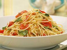 Angel hair with tomato & basil. Add tomato sauce, mozzarella balls & lots of fresh basil