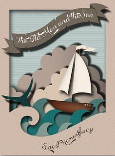 Book Cover: The Old Man and the Sea by Alysha McDowell via Behance Maybe someth - Sculpture - Print the sulpture yourself - Book Cover: The Old Man and the Sea by Alysha McDowell via Behance Maybe something for Printer Chat? 3d Paper Art, Paper Artwork, Diy Paper, Paper Crafts, Paper Book, Origami, Paper Cutting, Cut Paper Illustration, Paper Engineering