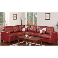 2 Pcs Burgundy Faux Leather Sectional Set Poundex F7642