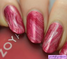 Painted Fingertips | Red and white Christmas drip marble