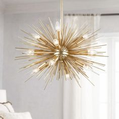 Modern Luxury Starburst 12 Exposed Light Metal Orb & Aluminum Rods Large Chandelier in Gold – Lighting - All For Decoration Chandelier Design, Chandelier In Living Room, Diy Chandelier, Dining Room Lighting, Modern Chandelier, Stair Lighting, Kitchen Chandelier, Pendant Lamps, Gold Ceiling Light