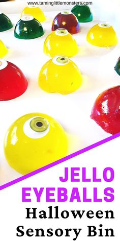 Jelly Eyeballs are a fun sensory bin for Halloween. This taste-safe sensory activity is suitable for babies, toddlers and preschool. Your kids will delight in watching as these eyes wobble around.    #halloween #sensory #babies #toddlers #preschool Motor Activities, Sensory Activities, Sensory Bins, Sensory Play, How To Make Jello, Halloween Eyeballs, Halloween Activities For Kids, Shape Matching, Handprint Art