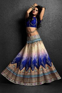 Aishwarya Attractive Blue & Beige Long Lehenga @Looksgud.in #Aishwarya, #BlueAndBeige, #Lehenga