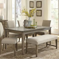 weatherford rustic casual 6 piece dining table and chairs set with bench liberty furniture at johnny janosik Bench Table And Chairs, Dining Set With Bench, Kitchen Table Bench, Dining Table With Bench, Dining Room Sets, Dining Table In Kitchen, Dining Room Design, Dining Room Chairs, Dining Room Furniture