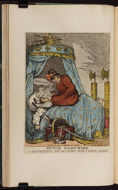 29 November 1813.Bodleian Libraries,Dutch nightmare or- the fraternal hug returned with a Dutch squeeze.Satire on the Napoleonic wars. (British political cartoon)