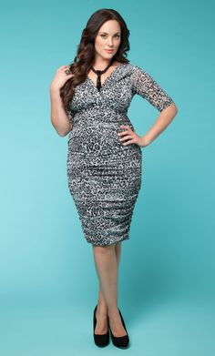 Sexy hot! This snow leopard print of the curve hugging Betsey Ruched Dress by Kiyonna would look so hot when paired with some bright colored pumps.  #plussize #kiyonna
