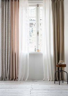Use soft, sheer voiles layered in muted tones as a subtle and understated window treatment Curtains With Blinds, Design Your Own Home, Home Living Room, Home Curtains, Home, Window Decor, Curtains, Curtain Styles, Drapes And Blinds