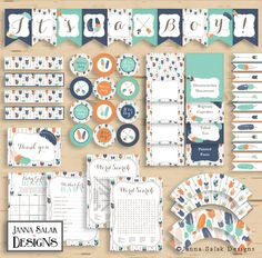 Tribal BOY Baby Shower Party Package Boho Arrows and Feathers Navy Orange Teal Diy INSTANT DOWNLOAD Pdf TR003 by JannaSalakDesigns on Etsy https://www.etsy.com/listing/387091872/tribal-boy-baby-shower-party-package