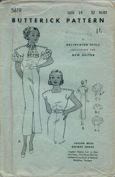 Butterick 5919 | 1930s Junior Miss Guimpe Frock