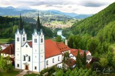 Aerial view of the Church of the Mother of God in Nazarje, Slovenia