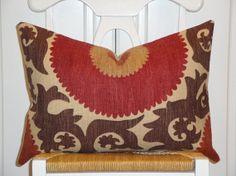 Decorative Pillow Cover - 14 x 20 - Suzani - Throw Pillow - Accent Pillow - Lumbar - Brown - Dark Red - Tan