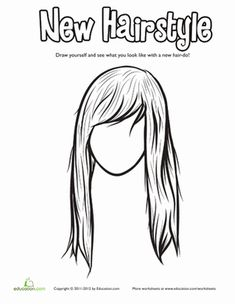 Hair Coloring Pages | Education.com | Add a Face to the Hair ...
