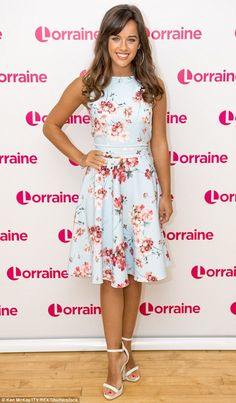 Sunkissed stunner: Georgia May Foote looked radiant and relaxed in a floral mini dress for her appearance on Lorraine, on Tuesday Lorraine, Georgia May Foote Instagram, Floral Skater Dress, Flawless Beauty, Brunette Beauty, Celebrity Style, Fashion Dresses, Summer Dresses, How To Wear