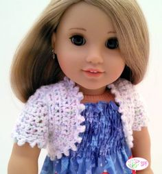 The Sweet Pea Fashions Crocheted Bolero 18 inch Doll clothes pattern. Crochet a bolero for your 18 inch doll that can be made as a vest or with long or short sleeves.