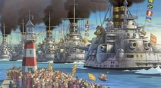 A fleet of steampunk battleships seen in Howl's Moving Castle