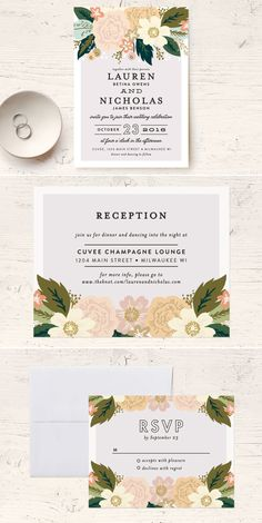 10% off + FREE shipping with coupon code CHICKS10 on all wedding orders including these classic floral wedding invitations from @minted