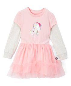 Another great find on #zulily! Candy Pink Unicorn Ruffle Tulle Layered Dress #zulilyfinds