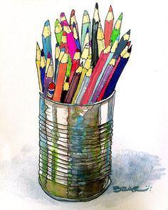 pencils - watercolor art