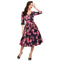 Katherine Long Sleeve 50's Swing Dress in Blue/Pink Tulips