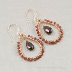 Gold filled garnet briolette earrings garnet wire by GSStudioworks, $48.00