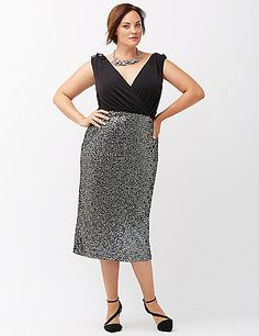 Party season, here you come in a sequin midi dress designed for dazzle. Figure-flattering sheath dress flaunts curves in all the right places, from the sexy surplice neckline and V-back, to the trendy midi-length skirt. Wide straps with tie details are bra-friendly, too. Fully lined. Back zipper closure. lanebryant.com