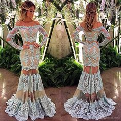 Beautiful Two Pieces Prom Dresses 2016 Hot Off the Shoulder Long Sleeves Lace Evening Gowns Mermaid See Through Skirt Sexy For Women Online with $112.57/Piece on Olesa's Store | DHgate.com