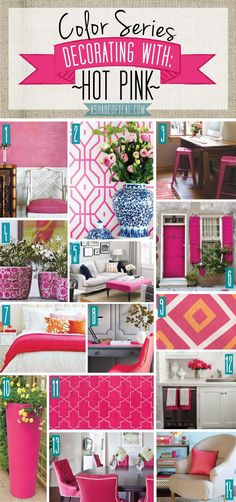 Color Series; Decorating with Hot Pink. Hot Pink home decor | A Shade Of Teal