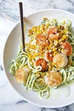 Chili Lime Shrimp & Scallops with Corn, Zucchini Noodles & Avocado Crema