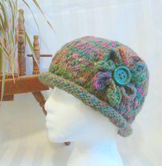 Greenery and Rose Rolled Brim Hat. Handspun Hat. Wool Winter Hat. Medium Sage Green. Optional Crochet Flower. Hats for Women. Knitted Hat. by JoyfulHandKnits on Etsy