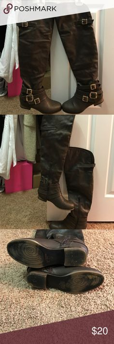 Over the knee Boots New condition, worn 2x only. Chocolate brown. Pull on style with inner zip to help with on and off. I don't have the box. I bought these at Thanksgiving and can't remember the maker. But they are very nice boots. Shoes Over the Knee Boots