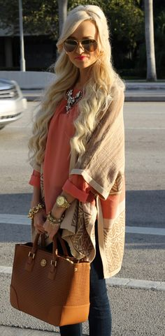 A Spoonful of Style: 2014 ❤️.  I love this and the peach or tangerine color top looks great with the over top or jacket!!