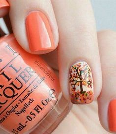 Trendy Manicure Ideas In Fall Nail Colors;Orange Nails; Fall Nai… Trendy Manicure Ideas In Fall Nail Colors;Orange Nails; Thanksgiving Nail Designs, Thanksgiving Nails, Happy Thanksgiving, Tree Nails, My Nails, Tree Nail Art, Nail Art Orange, Orange Color, Coral Orange