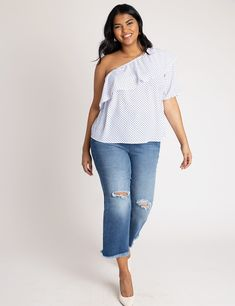 One Shoulder Ruffle Top - Pixel Dot Designer Plus Size Clothing, Plus Size Designers, Ruffle Sleeve, Ruffle Blouse, One Shoulder Ruffle Top, Plus Size Tops, Curvy Fashion, Plus Size Outfits, Skinny Jeans