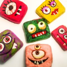 Felted Green monster soaps! Each monster is filled with our oatmeal honey bar.