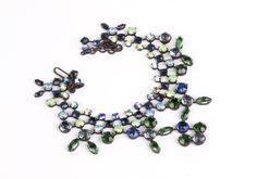 J.L. Blin Paris Vintage Green & Blue Stone Necklace