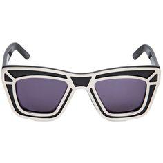 KSUBI Scorpius Metal & Acetate Sunglasses - Black/Gold ($215) ❤ liked on Polyvore featuring accessories, eyewear, sunglasses, glasses, black lens sunglasses, lens glasses, ksubi, ksubi eyewear and black gold sunglasses