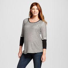Maternity Long Sleeve Striped Top w/ Solid Cuff Gray/White M - MaCherie, Women\'s, Size: Medium, Heather Gray
