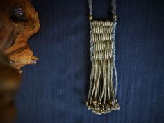 Boho Chic Woven necklace Linen necklace by EvisHandmadeJewels Hemp Necklace, Fringe Necklace, Fiber Art Jewelry, Jewelry Art, Minimalist Necklace, Brass Chain, Natural Linen, Boho Chic, Hand Weaving