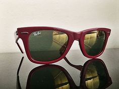 Ray Ban Wayfarer w/ Gold Mirror Lens and Burgundy Frame RB2140 969/39