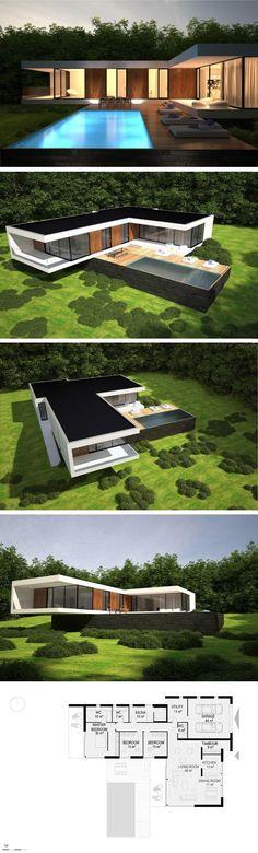 ik vind dit mooi strak en modern, alleen zou ik ipv plat dak, toch iets met een dak erop willen. Zwevend effect vind ik ook grappig.
