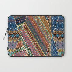 Vintage patchwork with floral mandala elements Laptop Sleeve