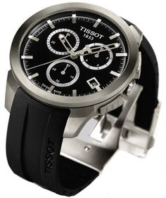 Tissot T0694174705100 Mens Watch Titanium Case Rubber Bracelet Chronograph Quartz Black Tone Dial