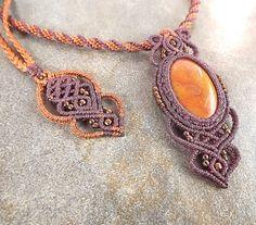 Macrame Necklace Kumihimo Necklace Jasper Pendant by neferknots