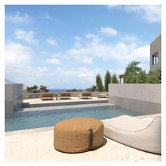 The exteriors design, catalyzes the clear limits and harmonizes itself with the Cretan landscape, providing an unobstructed view of the horizon and the ocean. Swimming Pool Designs, Swimming Pools, Crete, Outdoor Furniture, Outdoor Decor, Exterior Design, Outdoor Spaces, Architecture Design, Ocean