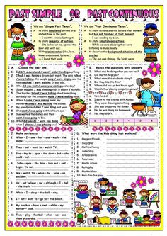 Past Simple & Past Continuous - English ESL Worksheets English Teaching Materials, Teaching English Grammar, English Resources, English Lessons, Learn English, Grammar Exercises, English Exercises, Pasado Simple, Simple Past Tense